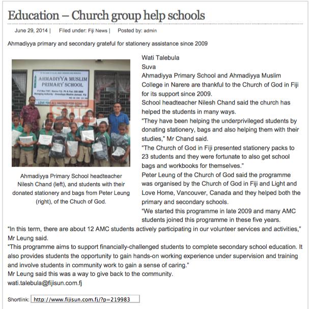 20140629 Fiji_Education – Church group help schools | Fijisun.com