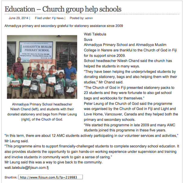 20140629 Fiji_Education – Church group help schools | Fijisun.com
